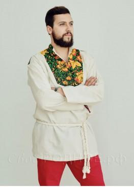 """Рубаха мужская """"Хохлома""""  с воротником-стойкой"""
